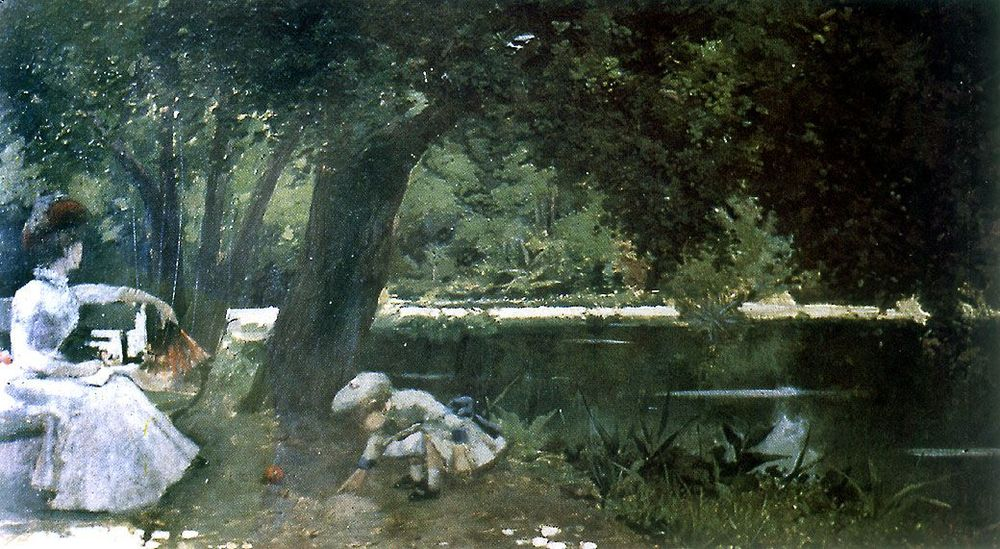 Alberto Orrego Luco, Laguna del Parque Cousiño (1887), óleo sobre tela 51 x 90 cm © Colección Museo Nacional de Bellas Artes. En Archivo Visual de Santiago (2015) <www.archivovisual.cl>