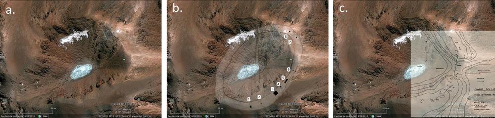(2)   Cráter del Licancabur y fotomontajes de dibujos de la arquitectura de cumbre publicados por (b.) Le Paige (1978) y (c.) Reinhard (1980) © Andres Riveros C. para  LOFscapes