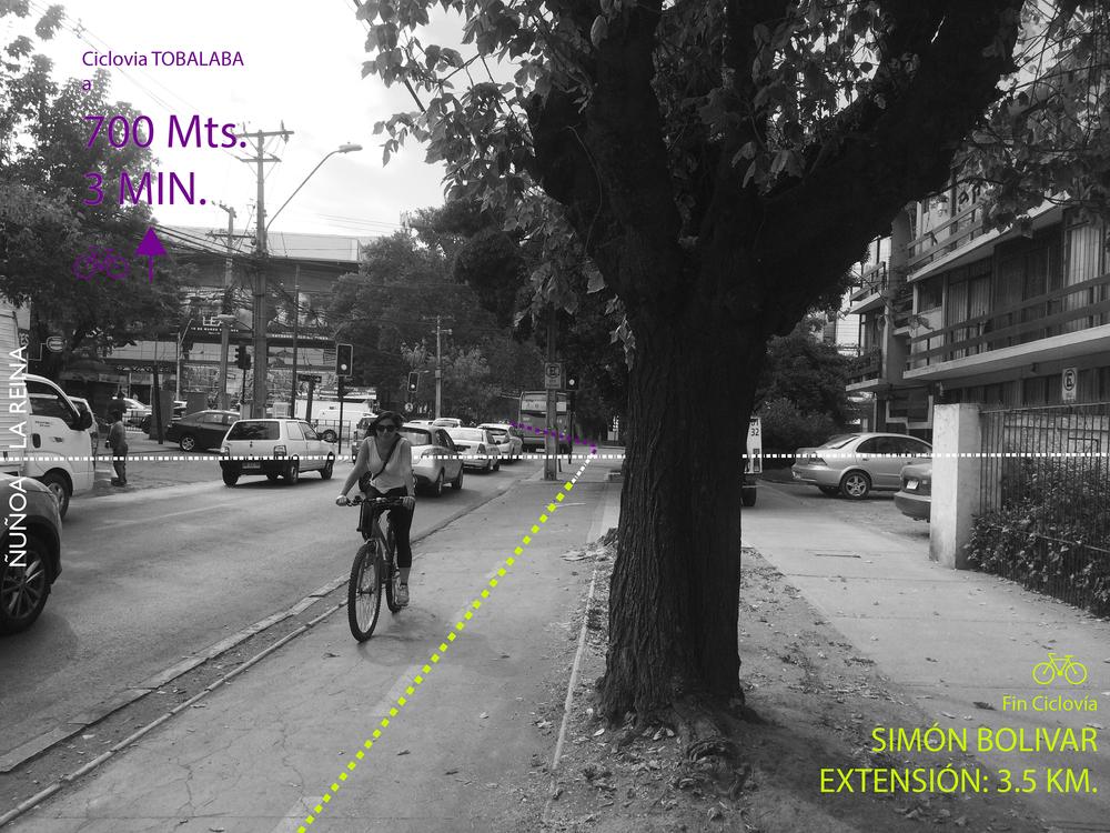 (4) Término Ciclovía Simón Bolivar (dirección Oriente), límite entre comunas de Ñuñoa y La Reina (2015) © Francisca Salas P. para   LOFscapes
