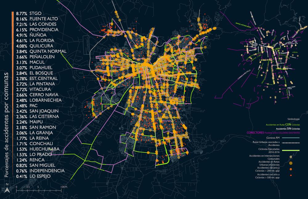 (6) Cartografía Porcentajes de Accidentes de Ciclistas por Comunas © Francisca Salas P. para LOFscapes