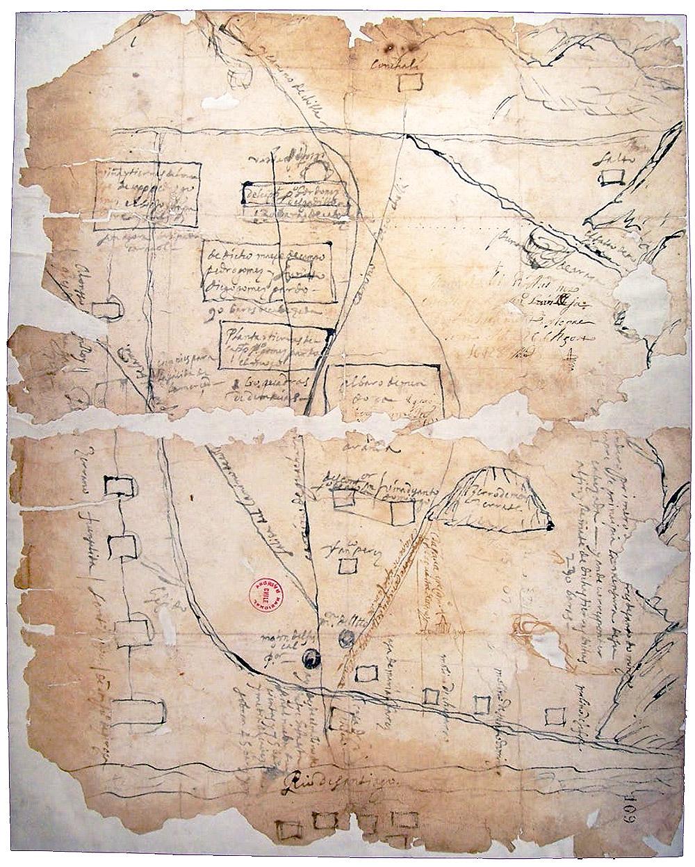 (1) Francisco Luis Besa, Plano de la Chimba. Valle del Mapocho, entregado al tribunal de la Real Audiencia el 26 de Agosto de 1641