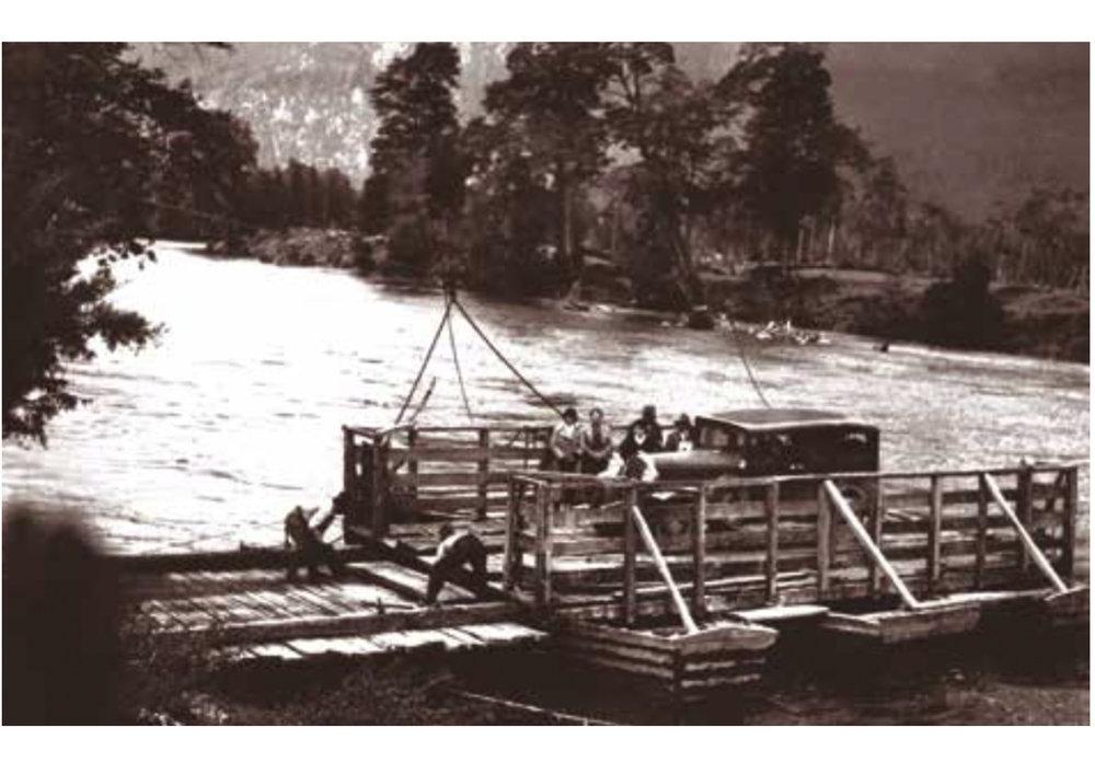 (4) El Balseo camino Aysén - Coyhaique alrededor de 1930 en MARTINIC Mateo_ De la Trapananda al Aysén