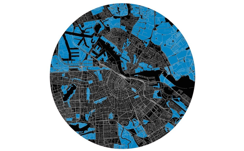 (3) Amsterdam's Blue Map: to help the city imagine that growth occurring on a bicycle mobility platform © Cicle-Space. para LOFscapes