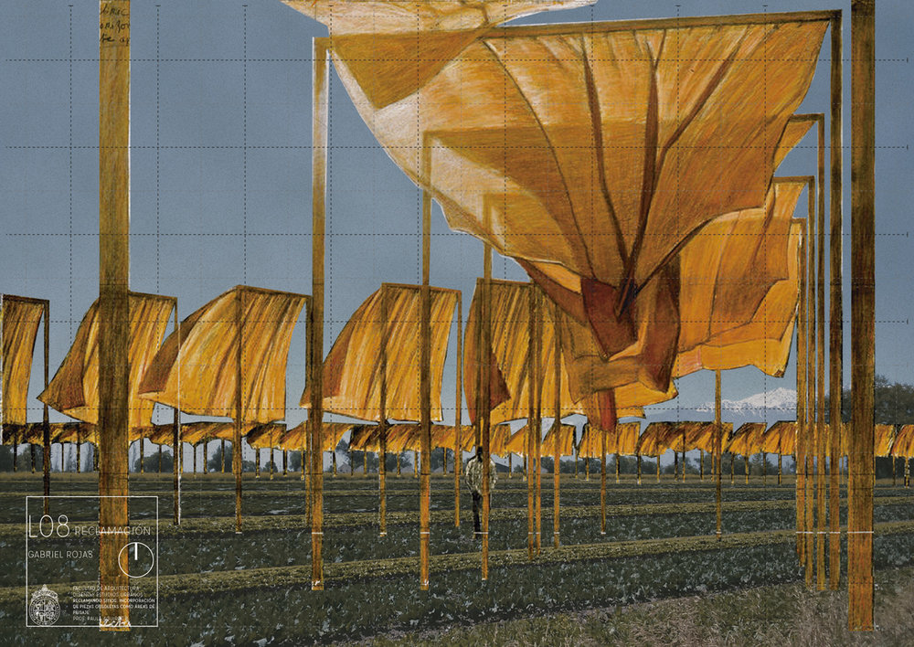 (2) Multiplicación de recorridos en el Campus Antumapu a través de la superposición de la obra The Gates de Christo y Jeanne-Claude originalmente instalada sobre Central Park en 2005. Imagen de Gabriel Rojas para el curso Reclamando Sitios, impartido en la PUC.