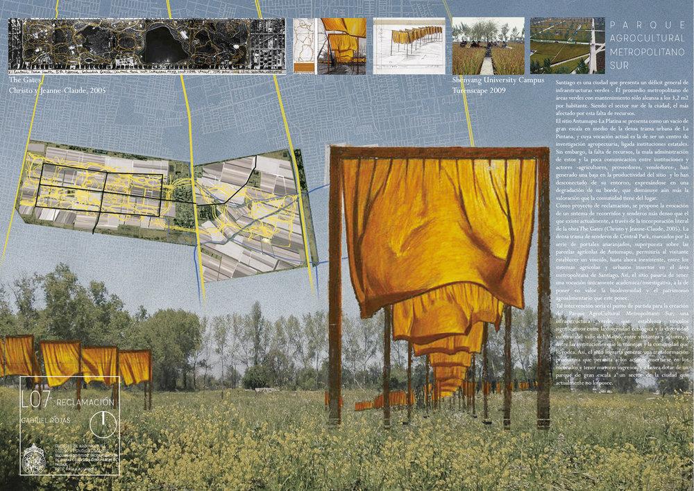 (1) Multiplicación de recorridos en el Campus Antumapu a través de la superposición de la obra The Gates de Christo y Jeanne-Claude originalmente instalada sobre Central Park en 2005. Imagen de Gabriel Rojas para el curso Reclamando Sitios, impartido en la PUC.