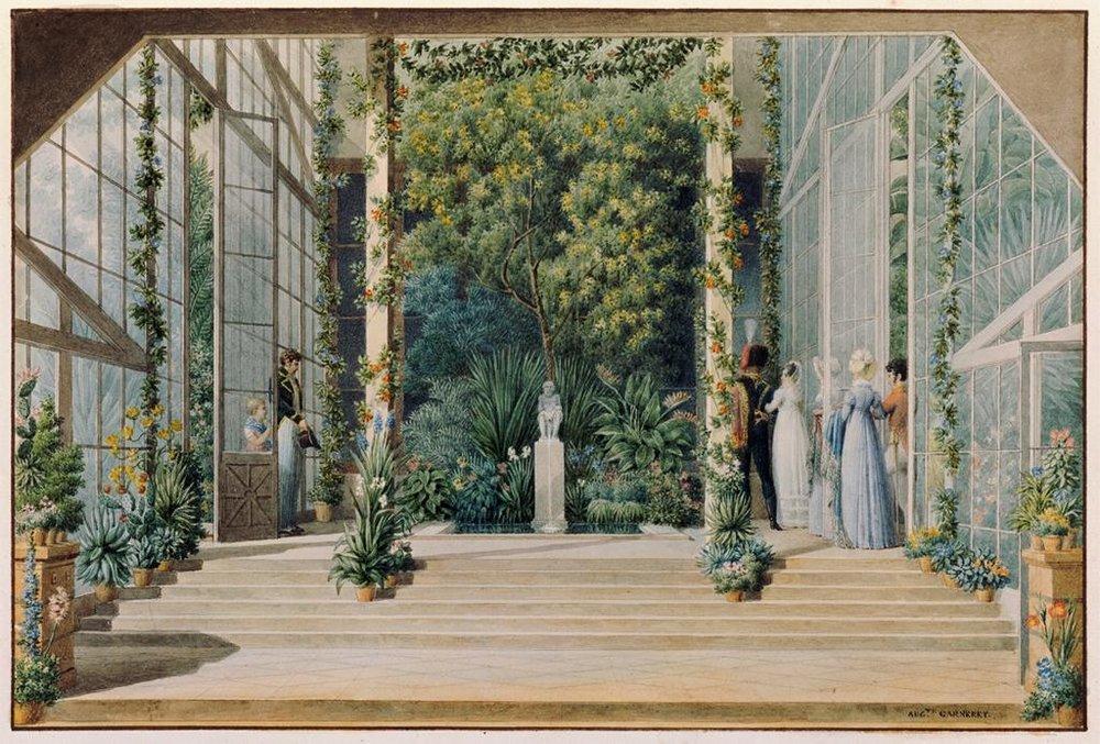 (2) Auguste Garneray, Interior of the Greenhouse of the Château de Malmaison, Douze vues du domaine de Malmaison