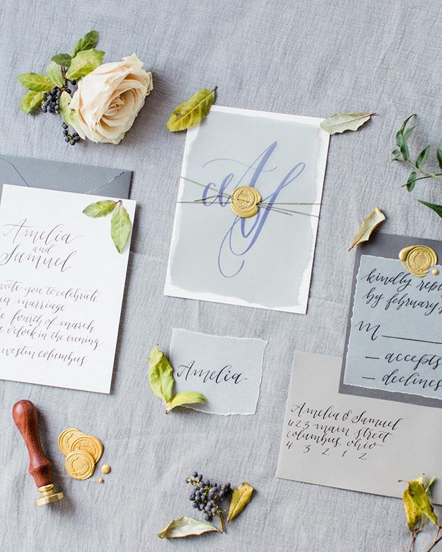 Vellum layers and wax seals bring this invitation suite to life.⠀ ⠀ Huge thanks to @eventshelddear & @thejacksonsphotography for this lovely photo from the #ehdwintershoot ⠀ ⠀ Photography: @thejacksonsphotography ⠀ Production & styling: @eventshelddear ⠀ Florals: @evergreenflowerco ⠀ Dress: @blovedbridal⠀ Makeup: @stateoffacemakeup⠀ Hair: @shannongoode.goodehair ⠀ Cake: @blusharrowcakes ⠀ Calligraphy & Stationery: @inkwellandco ⠀ Model: @morganhudecek ⠀ Venue: @thewestincolumbus @thewestincolumbusweddings