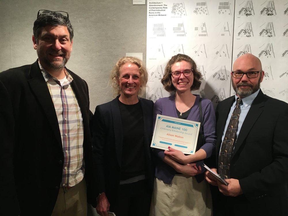 Allison Walton with UMA Architecture faculty.  From left to right: Eric Stark, Amy Hinkley, Allison Walton, and Paul Fowler. (photo courtesy of UMA)