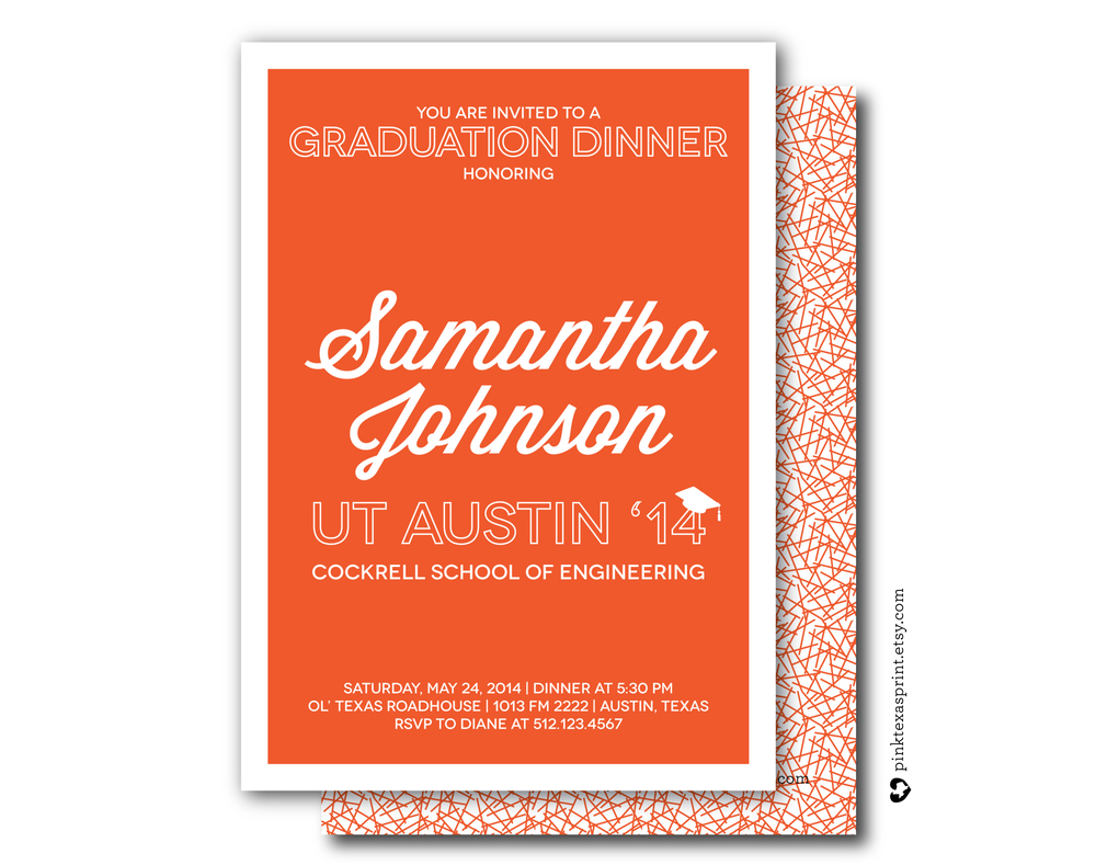 Graduation Invitation, Retro Orange and White — Pink Texas Designs