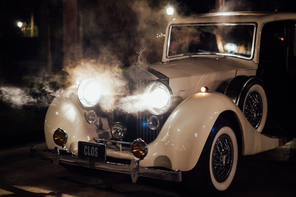The Springs Event Venues Lake Conroe in Montgomery Texas Wedding venue. Austin and Hoston wedding photographer. Vintage car send off.