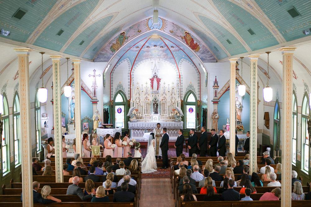 Olde Dobbin Station Houston Wedding Photographer. Wedding Photos from Olde Dobbin Station. Ceremony at St. Mary's Catholic Church in Houston.