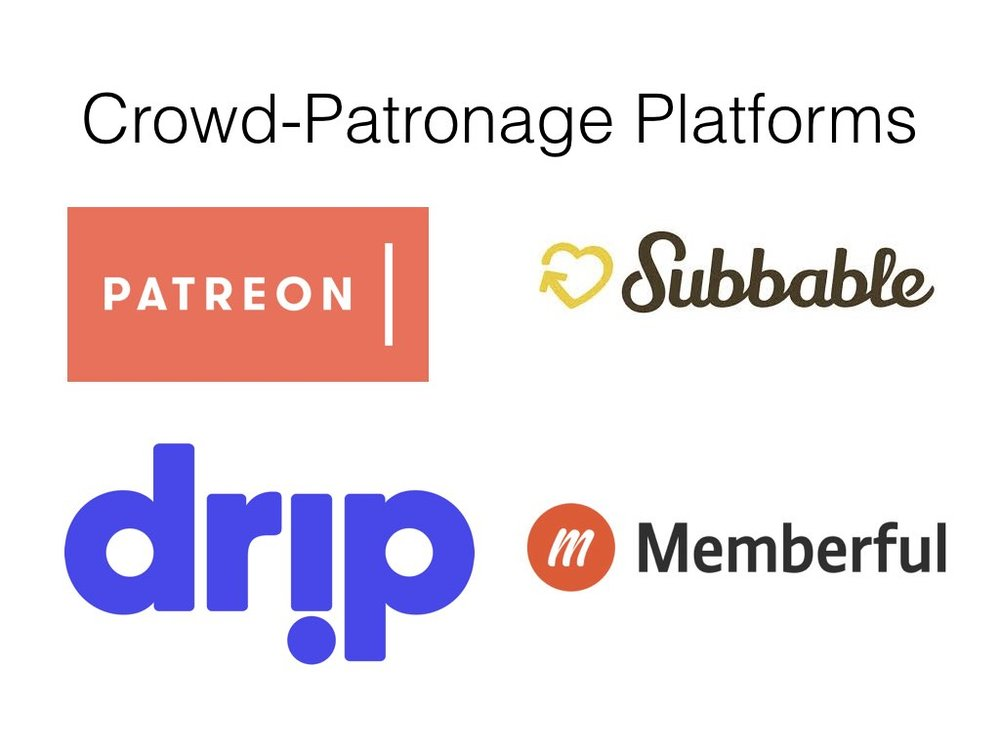 For the last few years i've been interested in new forms of patronage facilitated through online platforms. With British Academy and Leverhulme funding i examined the emergence of Patreon and Subbable, and their role in changing geographies of patronage networks.  These platforms - and newer ones such as drip and Memberful - provided cultural producers with new streams of income. They are used heavily by artists and creators who use the web for various parts of their production and distribution process. These artists and creators had faced falling income as a result of adblockers reducing advertising revenue, piracy drastically effecting the way people consume media online, and changes to monetisation  algorithms on sites like Youtube.