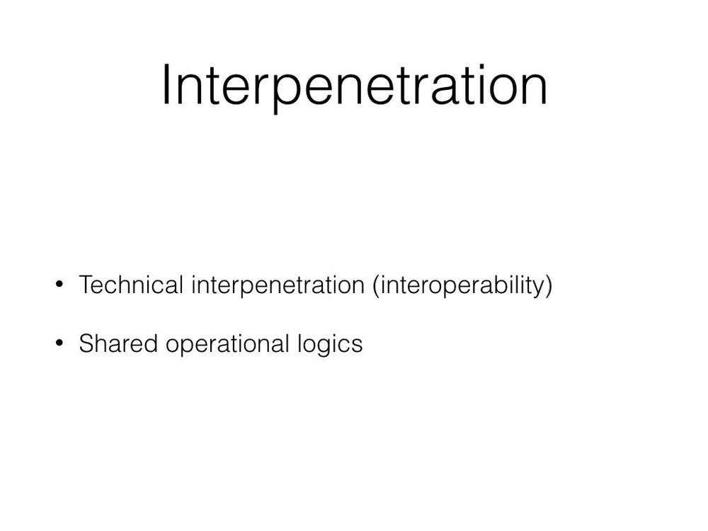 For the internet to function there needs to be interoperability - the same protocols and coding languages need to be used to websites can be accessed through browsers and so they can be connected together.  van Dijck (2013) draws on this idea, conceptualizing what she calls interpenetration. In her examination of social media platforms, she explains how interpenetration is made possible through technical linkages but also shared operational logics. The former is facilitated by tools, such as application program interfaces (APIs) that allow users to integrate functions of or data from one platform into other sites (e.g. embedding a YouTube video into Reddit). APIs are complemented by other tools, such as templates and plugins that allow users to embed code and links from one platform service into another. Together these tools extend a platform's reach into other platforms and perpetuate the interpenetration of online ecosystems.