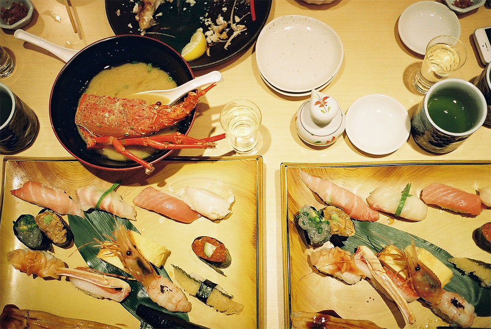 Lobster miso soup and sushi