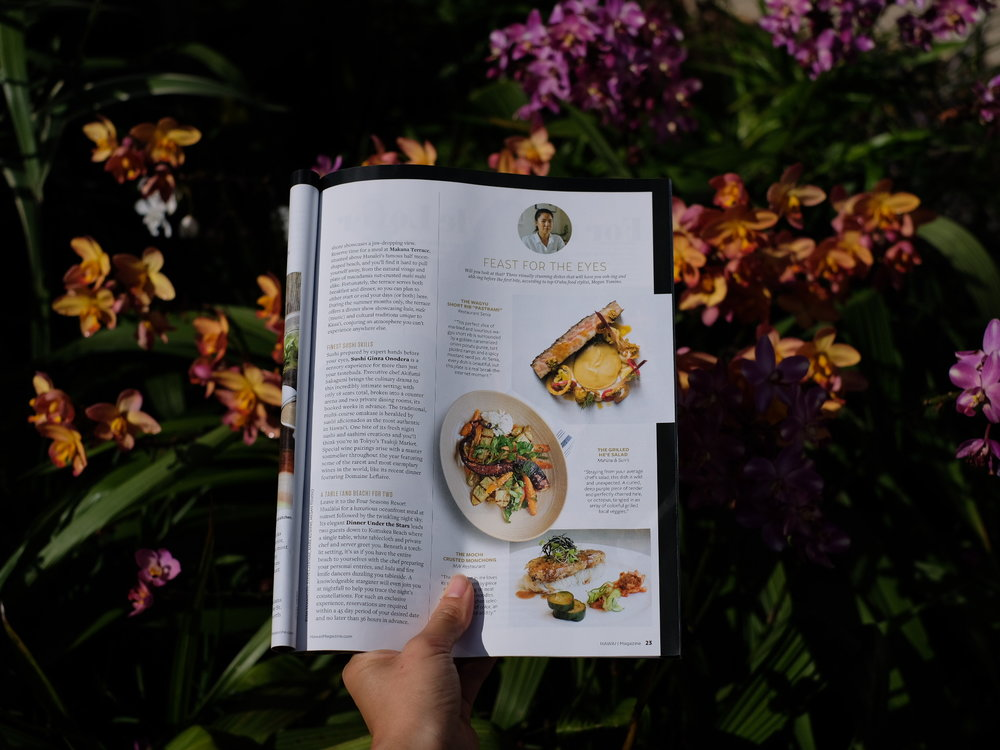 HAWAII MAGAZINE  November 2016 Issue PG 23  Featured three of Oʻahu's most visually stunning dishes.