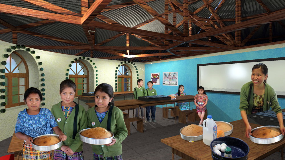 Rendering of planned cafeteria/classroom by Bonnie Adams