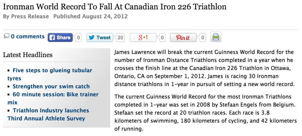 Featured on Triathlete Europe August 24, 2012