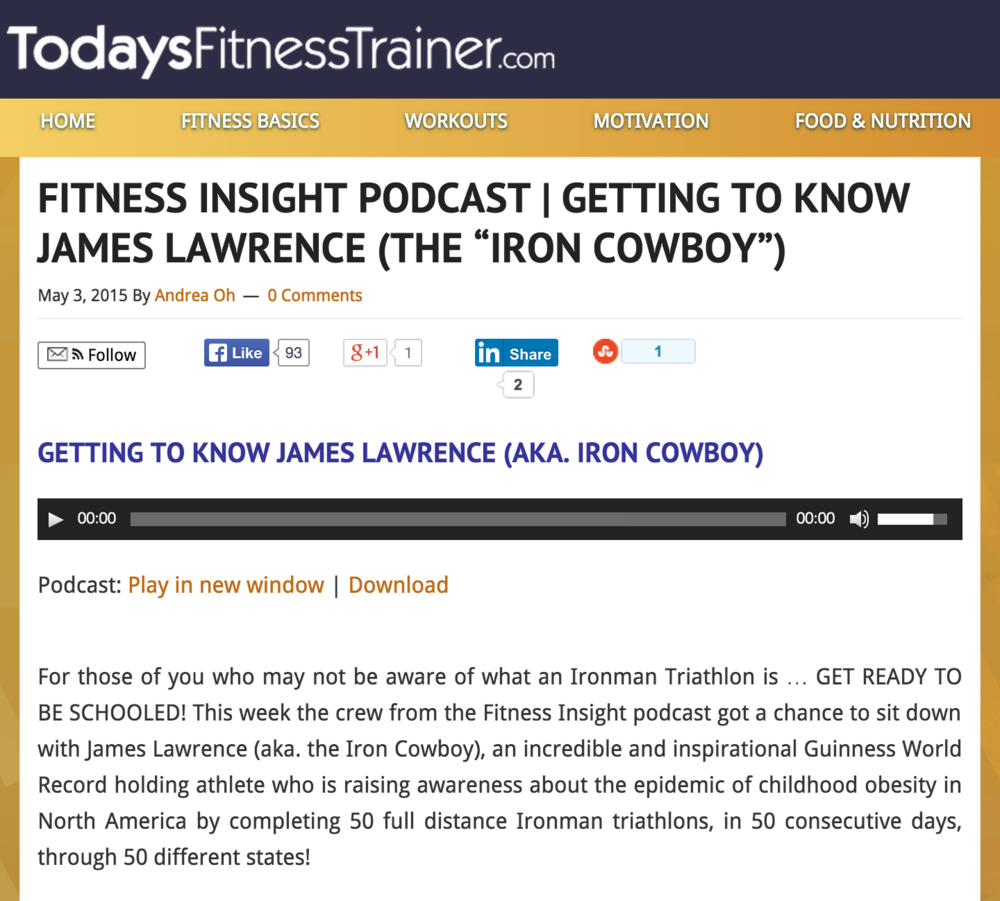 Featured Podcast on Todaysfitnesstrainer.com May 2015