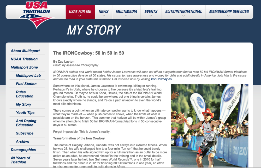 Featured on USA Triathlon May 19, 2015