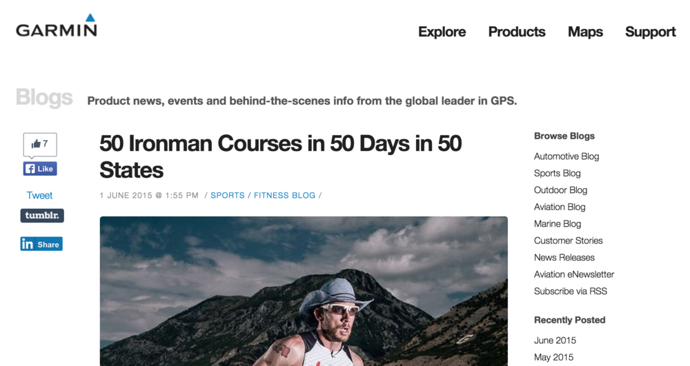 Featured on Garmin Fitness blog June 01, 2015