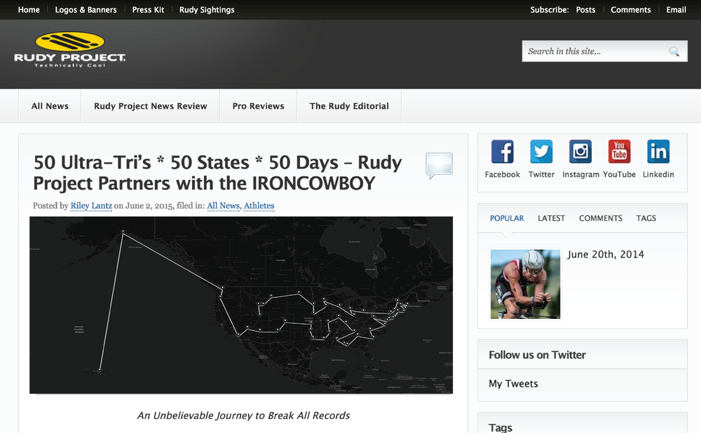 Featured on Rudy Project News June 02, 2015