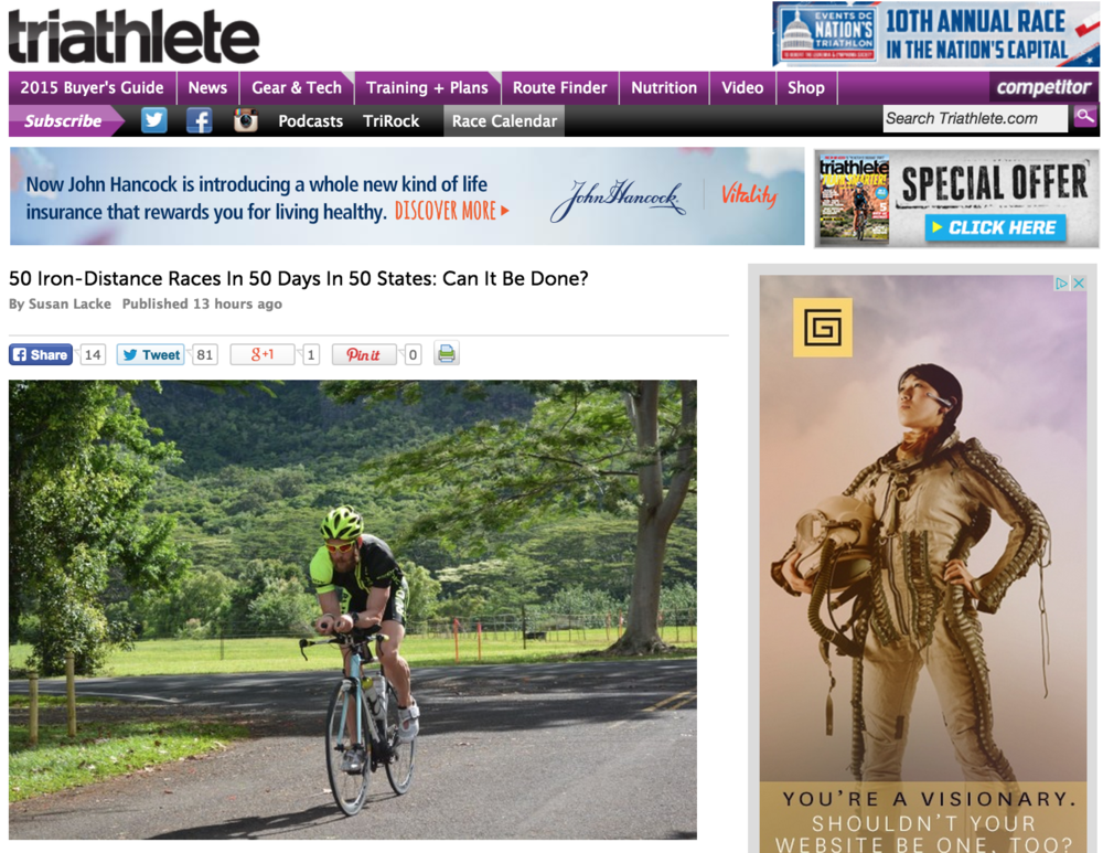 Featured on Triathlete June 04, 2015