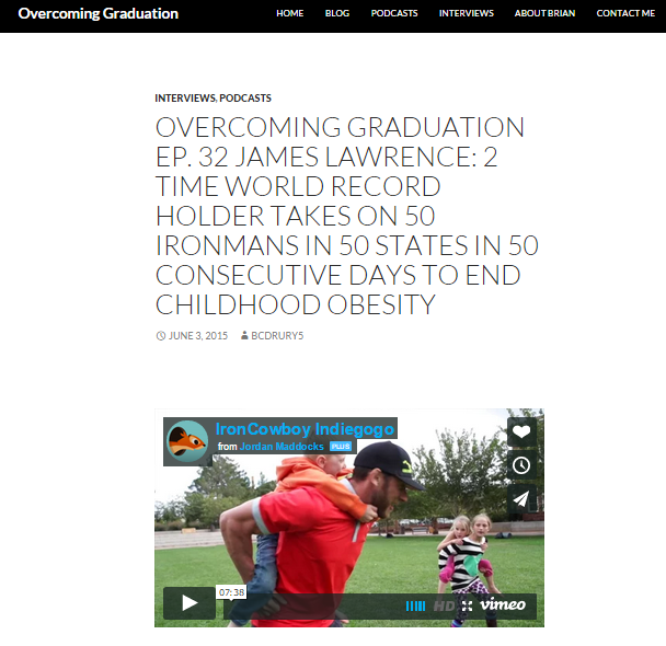 Featured on Overcoming Graduation June 03, 2015
