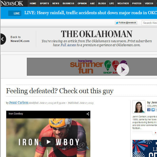 Featured on The Oklahoman NewsOK June 17,2015