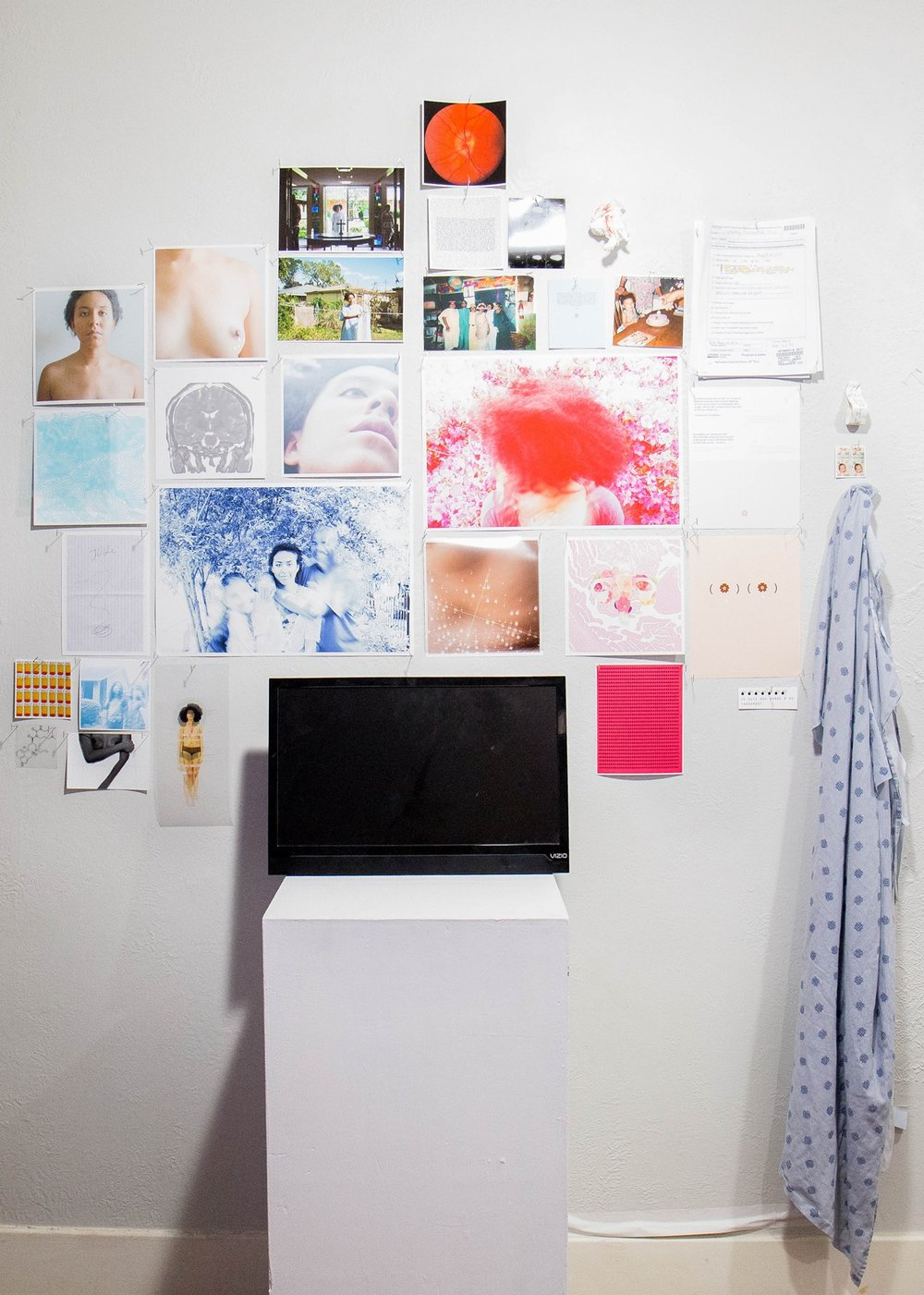 Installation: inkjet print, transparency print, cloth, blood, paper, monitor and plastic; (2012-present) : installation shot: Tere Garcia