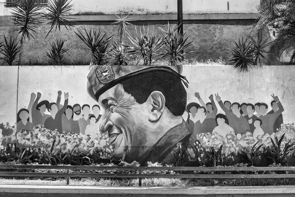 Wall with graffiti of Chavez, in downtown Caracas square. Caracas, 16/07/14.