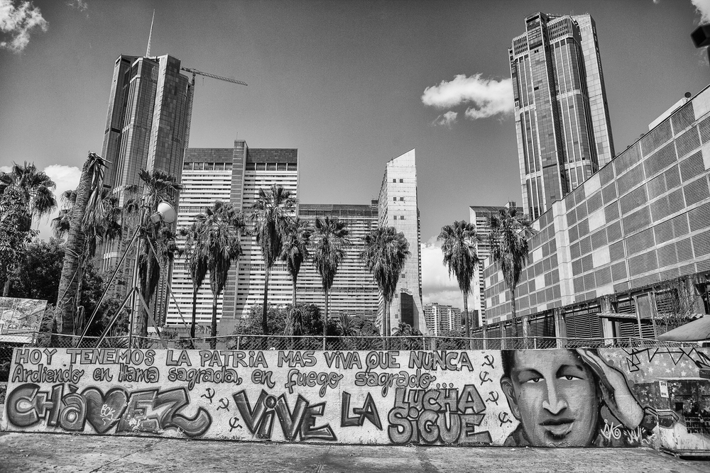 Wall with graffiti of Chavez, in Bellas Artes. Caracas, 07/07/14.