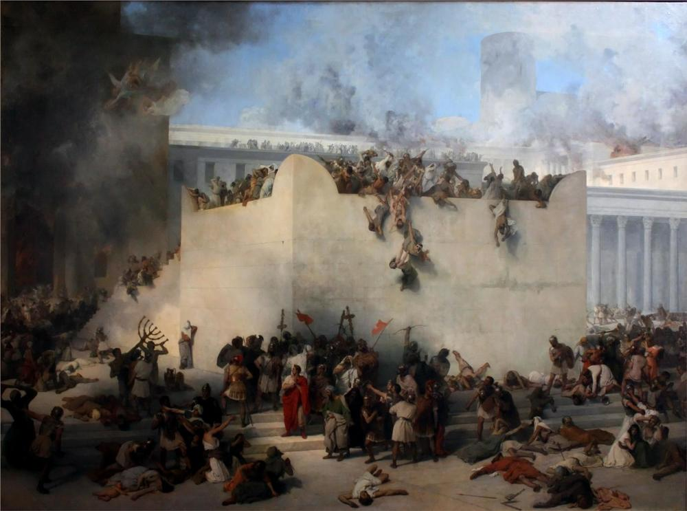 The destruction of Jerusalem by the Romans in AD 70.