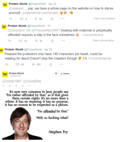 A selection of Protein World replies to consumer complaints on Twitter.
