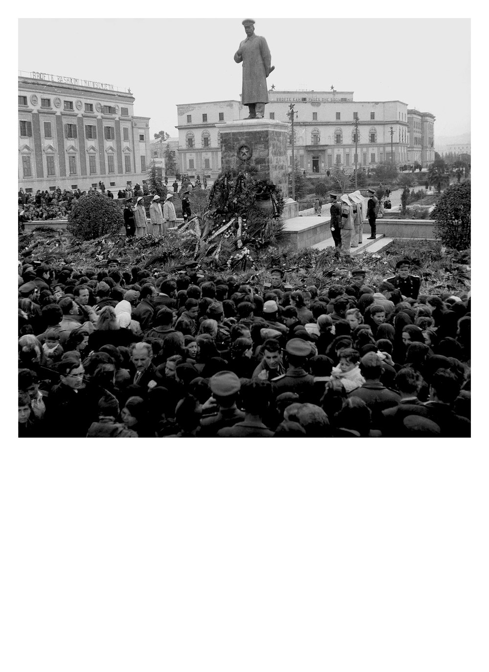 Commemoration of Stalin's death, Tiranë, Albania, 1953, ATSH.