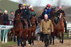 Mullins with his Cheltenham team (and that's just the Bumper horses)