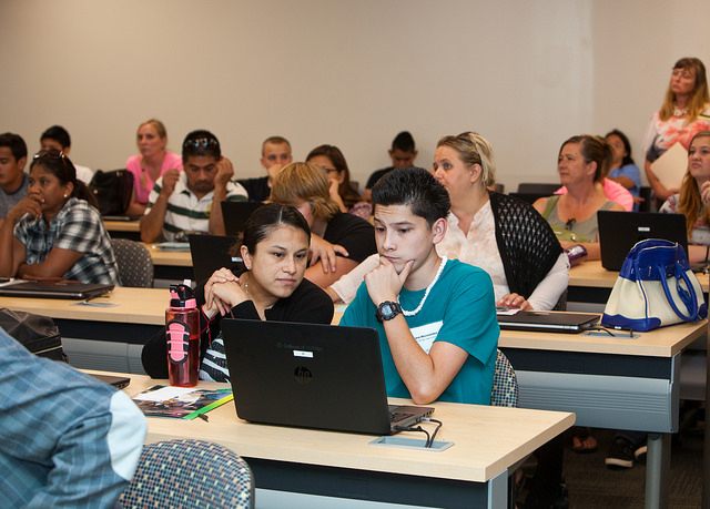 Students at Early College Initiative of College of DuPage, Glen Ellyn, Illinois