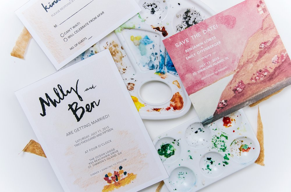 """Beautiful and quick turnaround! Patricia and her team were easy to work with. They responded to emails quickly and we felt like our invitation suite really expressed who we are and what we wanted out of our wedding vibe. Lots of compliments on the paper and adorable painting of us!""  - Ben and Emily Lowes"