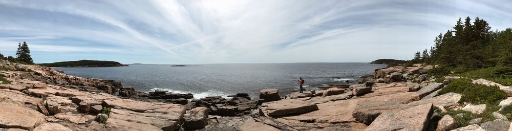 A panoramic view of the coast from the edge of Acadia National Park - something I'll never forget.