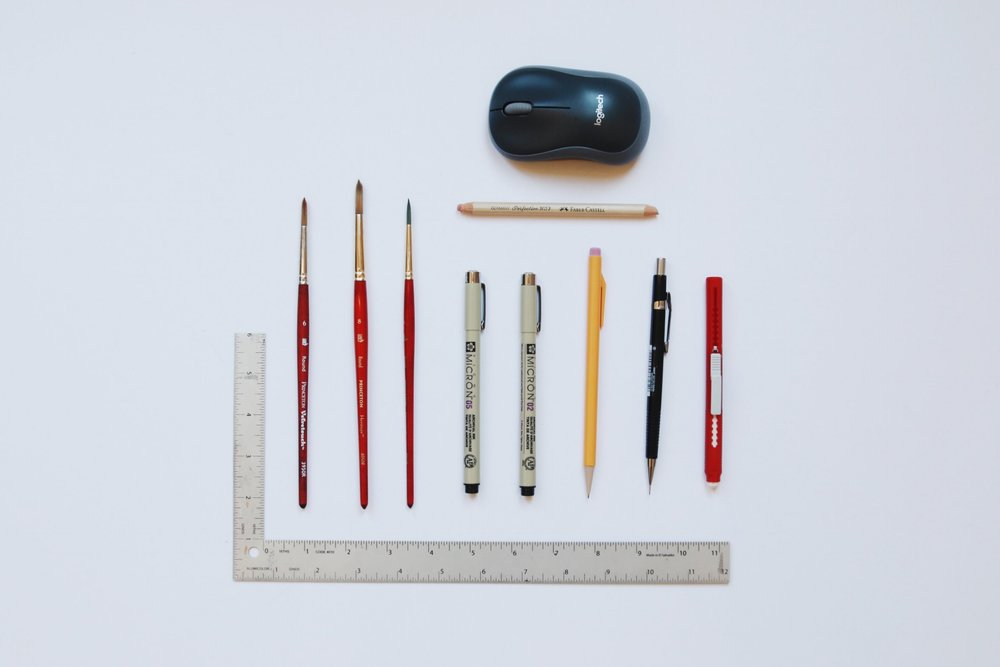 Gang's all here! My usual tools for painting/illustrating.