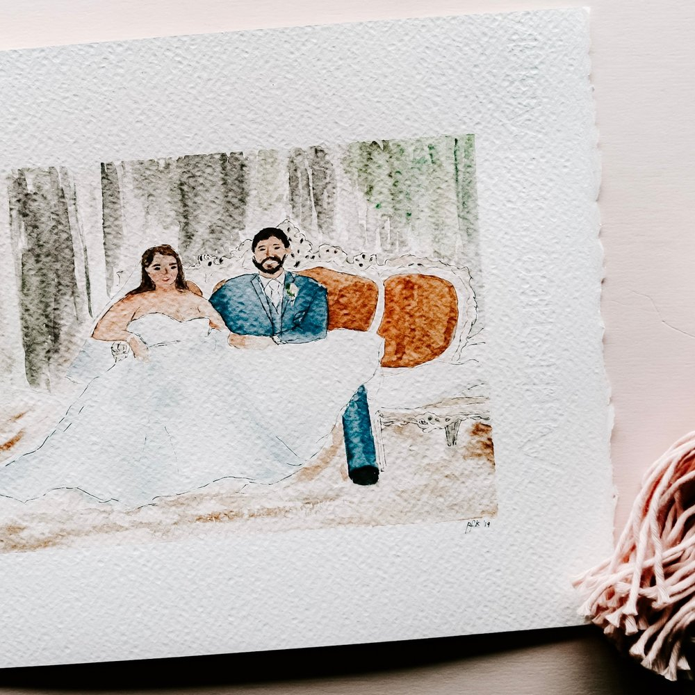 custom illustration - Commemorate your special day with a one-of-a-kind, watercolor illustration.