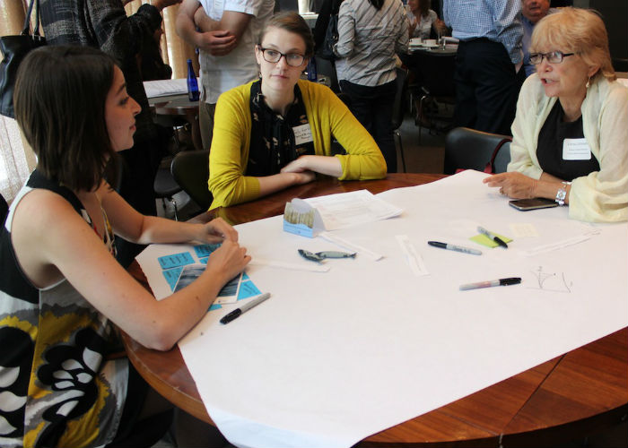 Industry Lab participants brainstorm together in NYC. Credit: Future of Fish.