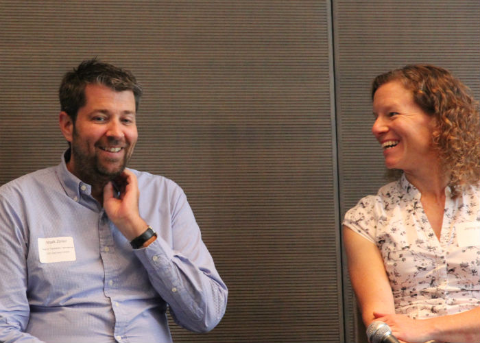 Mark Zeller of GS1 and Point 97's Jenny Walsh during a panel on traceability. Credit: Kate Findlay-Shirras for Future of Fish.