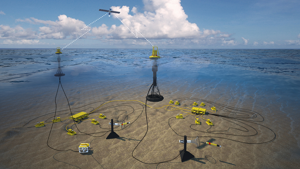 Concept of operation: PowerBuoy as a sustainable power source and communication platform for prepositioned Autonomous Underwater Vehicles (AUV).