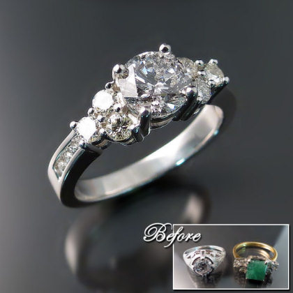 TWO BECOME ONE - Diamonds from two older rings were removed and reused to create this stunning custom designed engagement ring.