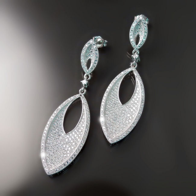Modern CZ Bridal Earrings
