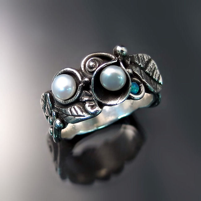 shop band orb artisan beadage granules sterling pearl silver and ring rings collection wavy gold