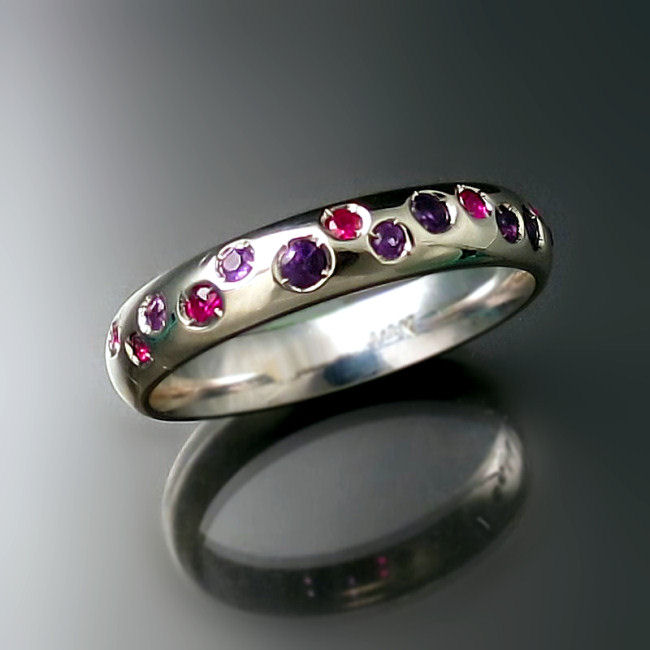 Custom Wedding Band with Ruby and Amethyst Gems