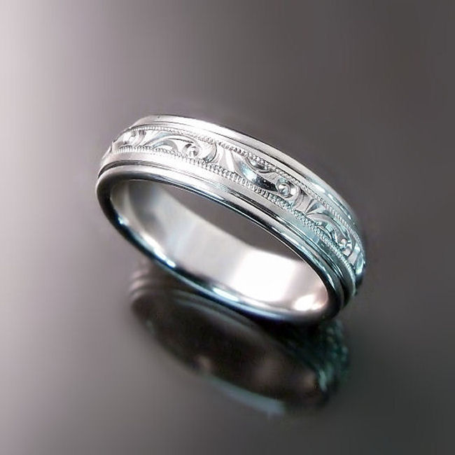Custom Wedding Band in White Gold