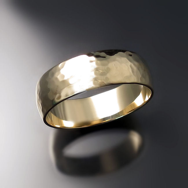 Hammer Finish Gold Wedding Band