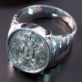 Serbian Eagle Coat of Arms Ring ZD-524 Dvoglavi orao prsten